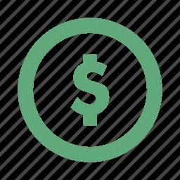 coin, dollar, finance, money icon