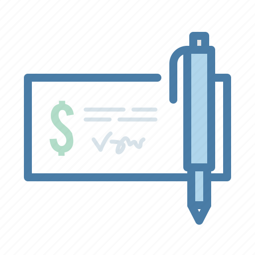 check, checkout, dollar, invoice, money, pen, sign icon