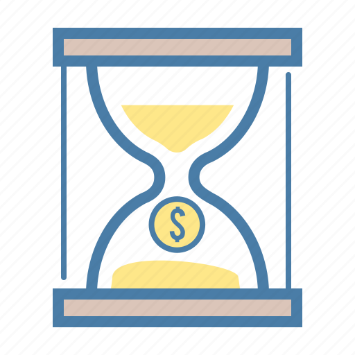 business, cash, coin, dollar, hourglass, money, time icon