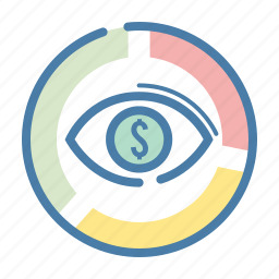 business, diagramm, dollar, eye, statistics, view, watch icon
