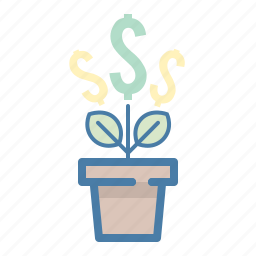 budget, dollar, grow, growth, income, investment, plant icon