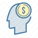 head, investment, money, startup icon