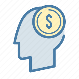 coin, dollar, head, investment, mind, money, startup icon