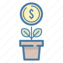 coin, dollar, earnings, growth, investment, money, plant icon