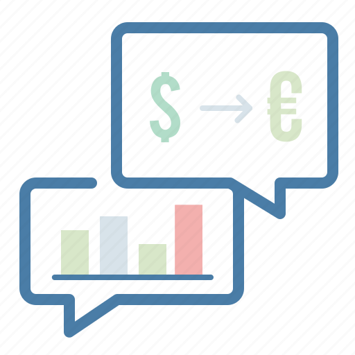 analytics, chat, currency, message bubble, statistics, talk, trade icon