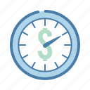 clock, hourly rate, management, money, time icon