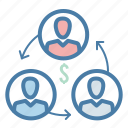 building, collaboration, conversion, dollar, investors, team, work icon