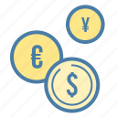 cash, coins, currency, exchange icon