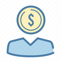 business, businessman, coin, dollar, investor, money, thinker icon