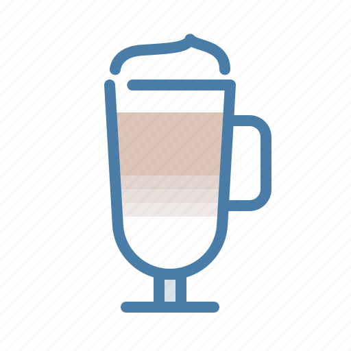 coffee, drink, hot, latte, latte machiato, milk, mug icon