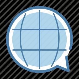 bubble, communication, international, office, solutions, translation, world icon