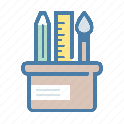 art, brush, office, pencil, ruler, supplies, table icon