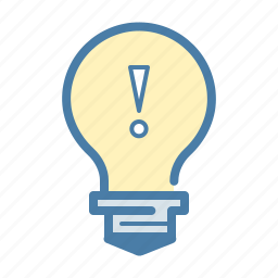 attention, bulb, idea, light, mark, office, warning icon
