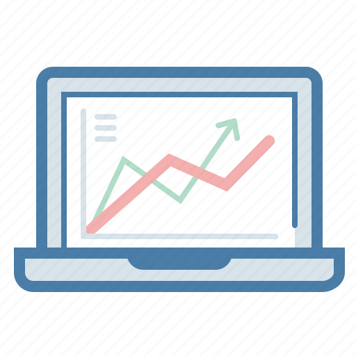 analytics, graph, laptop, monitoring, report, screen, statistics icon