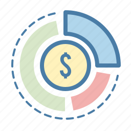 analytics, coin, dollar, money, pie chart, sales report, statistics icon