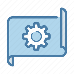 blueprint, develop, document, gear, management, project, settings icon