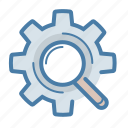 gear, magnifier, option, search, search engine, seo, settings icon