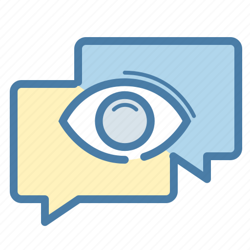 chat, chatting, comments, eye, message, talk, watch icon