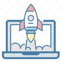 laptop, launch, project, rocket, screen, spaceship, startup icon