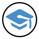cap, degree, education, graduate, graduation, hat icon