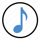 audio, eight, music, note, sign, sound icon