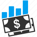banknotes, bar chart, data, graph, money, report, statistics icon