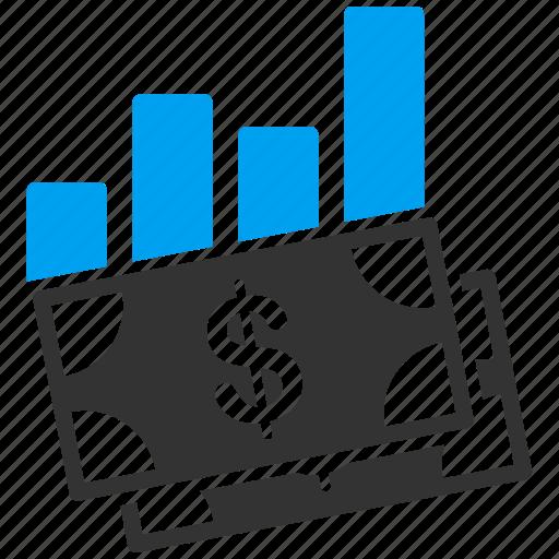 banknotes, bar chart, data, graph, money, report, statistics icon