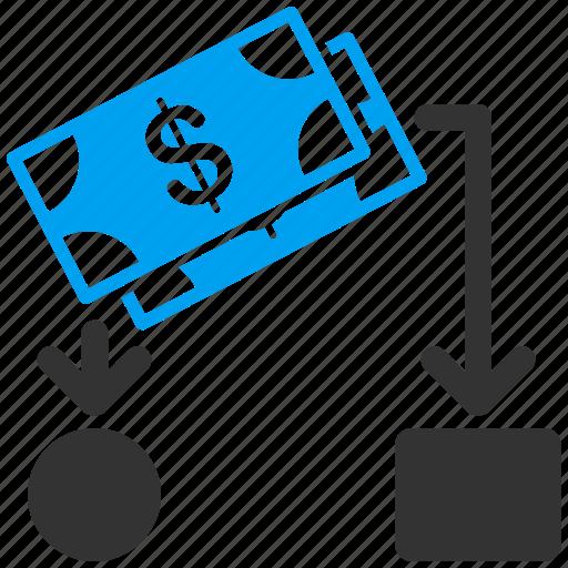 banknotes, cashflow chart, diagram, finance, financial, graph, scheme icon