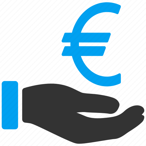 credit, currency, euro, hand, money, payment, service icon