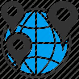 earth, globe, gps navigation, map markers, seo, travel map, world icon