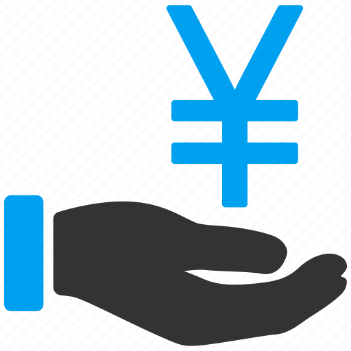 bank, currency, finance, hand, japan, offer, yen icon
