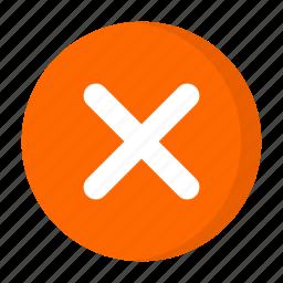 close, multiplication, multiply, orange, remove icon