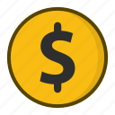 coin, currency, dollar, finance, gold, money icon