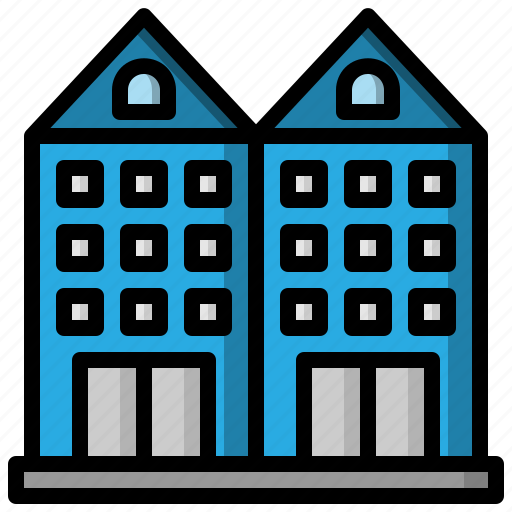 architecture, buildings, holidays, hostel, hotel, vacations icon