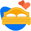 bed, couple, heart, love, wedding icon