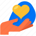 charity, giving, hand, heart, love icon
