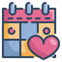 calendar, day, heart, love, married, valentines, wedding icon