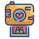 camera, heart, love, married, photo, valentines, wedding icon