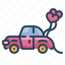 car, heart, love, married, transport, valentines, wedding icon