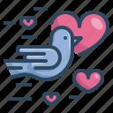 bird, dove, heart, love, married, valentines, wedding icon