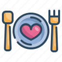 dinner, food, heart, love, married, valentines, wedding icon