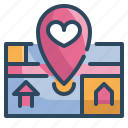 gps, location, love, map, married, valentines, wedding icon