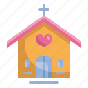 building, church, heart, love, married, valentines, wedding icon