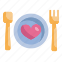dinner, food, heart, love, married, valentines, wedding