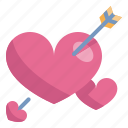 arrow, cupid, heart, love, married, valentines, wedding icon