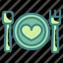 dinner, food, heart, love, married, valentines, wedding icon