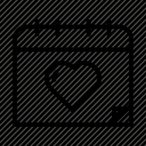 calendar, day, heart, love, month, valentines, wedding icon