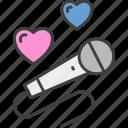 microphone, song, singing, karaoke, party, singer, hearts