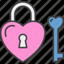 padlock, love, heart, romance, key, wedding