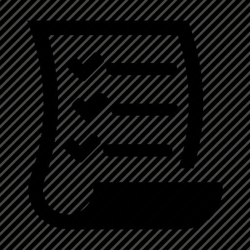 checklist, checkmark, document, list, paper, scroll, todo icon